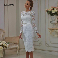 SATONOAKI Vintage Tea Length Lace Long Sleeves Short Wedding Dresses 2019 vestido de noiva Sheath High Jewel Neck Bridal Gowns