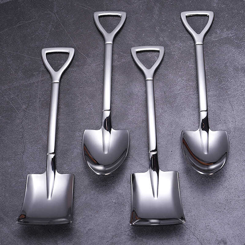 Retro shovel Flat coffee Tea Ice cream Metal spoon Gift creative Bar stainless steel 304 dessert Spoons Set Housewares kitchen 4