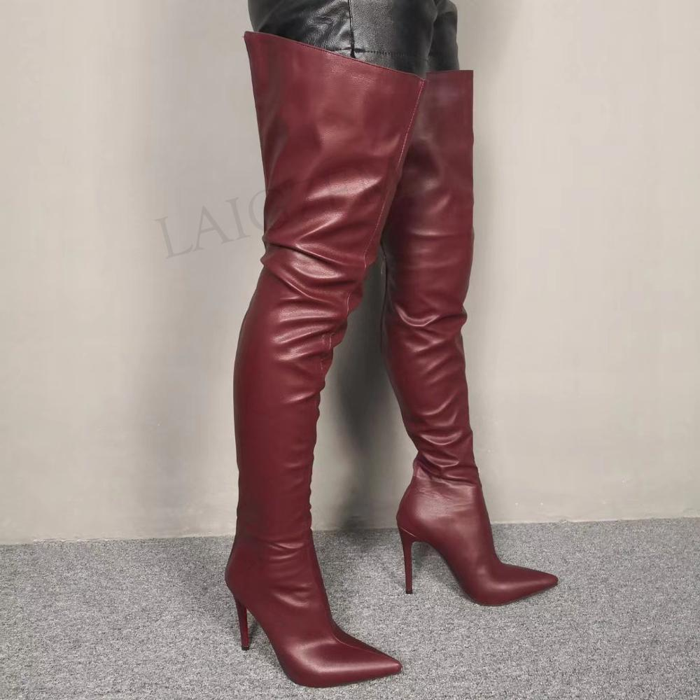 LAIGZEM 2020 Women Thigh High Boots Pointy Toe Faux Leather Back Zip Stiletto Heels Long Boots Botas Mujer Large Size  45 46 47