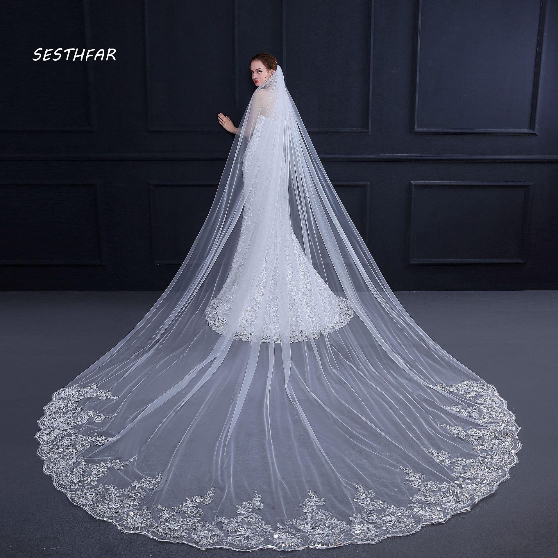 4m Long Sequins Cathedral Wedding Veil Velo De Novia 1 Tier Cut-edge Bridal Veil With Comb Bridal Wedding Accessories