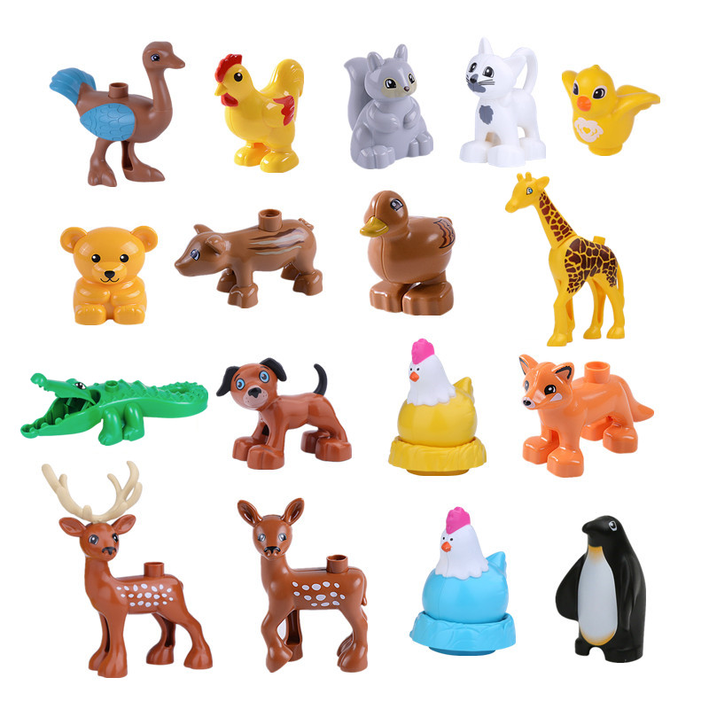 New Animals Building Blocks Toys Duck Hen Reindeer Ostrick Fox Wild Boar Deer Squirrel Bird Compatible With Duplo Animal Parts