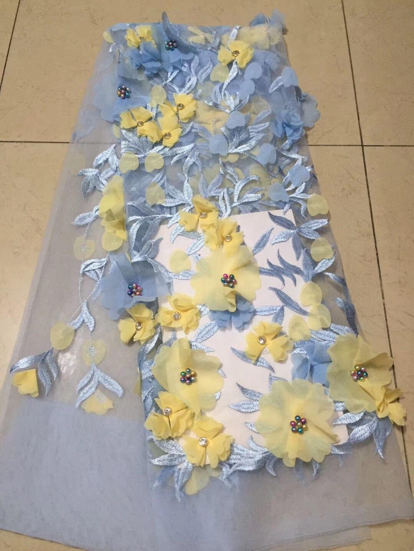 Dentelle de broderie bleue, tissu de dentelle de Tulle africain de haute qualité, tissu 3D perles de pierre fleurs robe de mariée tissu de dentelle CD24931-in Dentelle from Maison & Animalerie    1