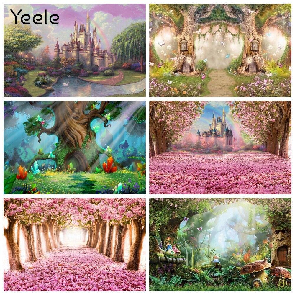 Yeele Сказочный цветущее дерево лес Замок свадебный фон для фотосъемки в стиле детского дня фотография Декорации для фона фоны для фотостудии