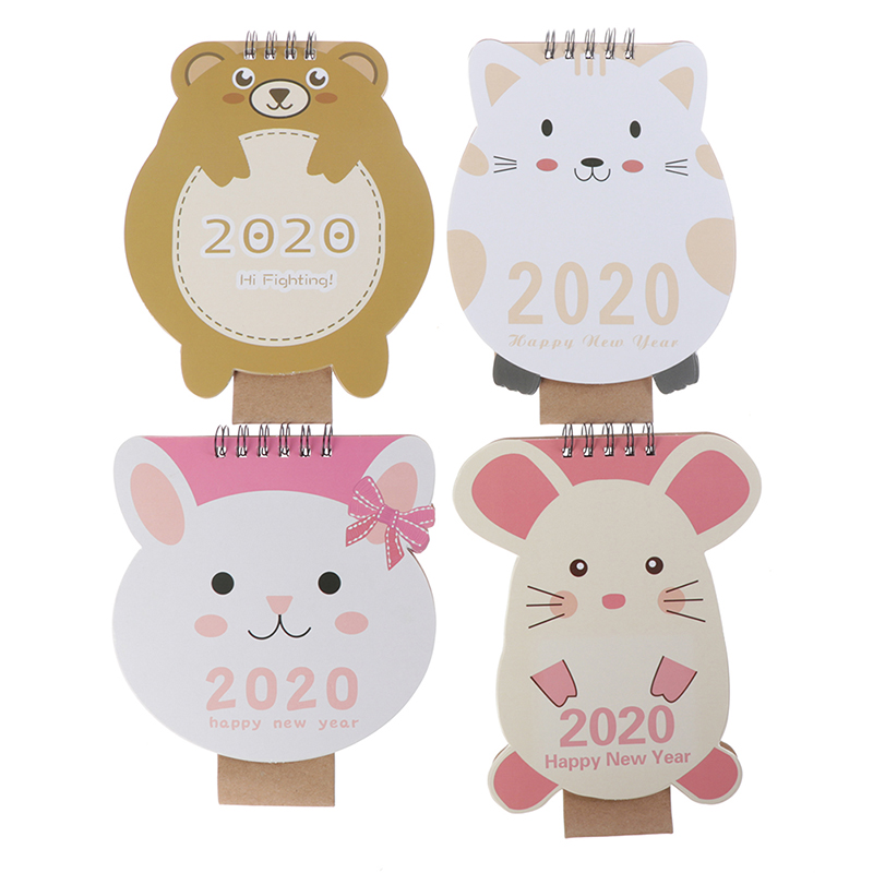 Lovely 2020 Cartoon Mini Bear Rabbit Mouse Cat Desktop Paper Calendar Dual Daily Scheduler Table Planner Yearly Agenda Organizer
