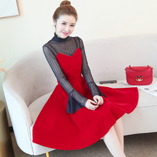 Winter Lace Dress Work Casual Slim Fashion stand collar Sexy see through Hollow Out black and Red Dresses fake 2 pcs dress 883B ad1674td 883b