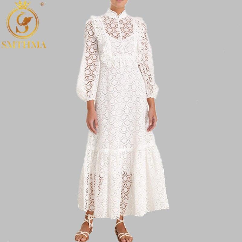 Automne et hiver nouveau blanc femmes dentelle robe à manches longues col montant femmes Chic robe à volants piste longue robe