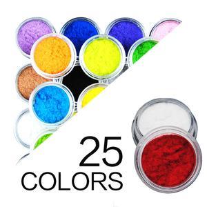 Hot 25 Colors Acrylic Nail Art Powder Velvet Flocking Dust Powder Set Decoration Nail Art Tip Design Cheap Nail Polish Pigment