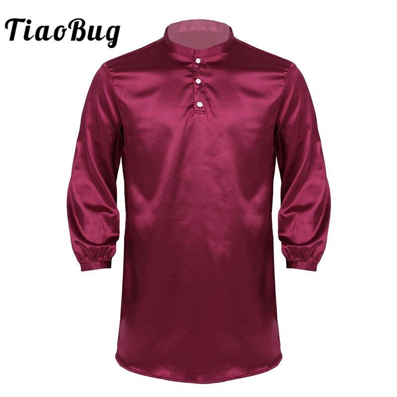 TiaoBug Men Nightshirt Silky Satin Nightwear Button Down Round Neck Long Sleeve Solid Color Pajamas Loose Bathrobe Sleepwear