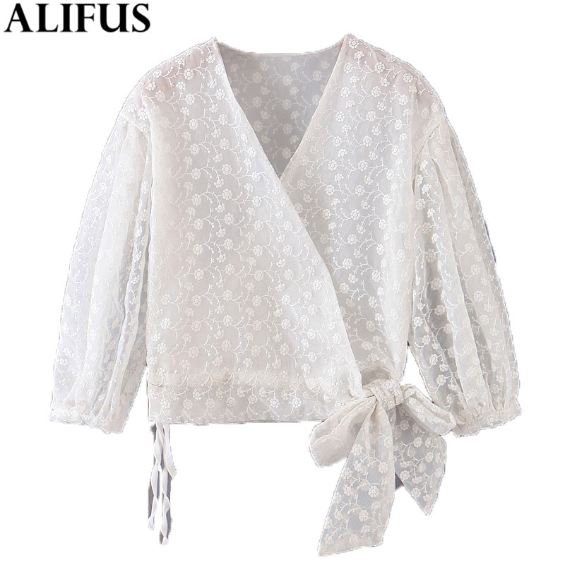 Fashion Za Women Shirt 2019 Sweet Floral Embroidery Casual V Neck Shirts Blouses Three Quarter Sleeve Female See Through Tops