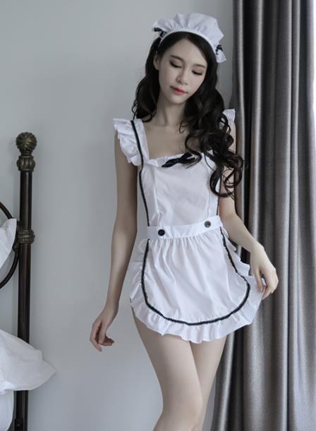 Maid Sexy Costumes Lingerie Women Maid Apron Uniform Set White
