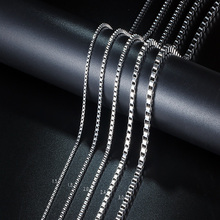 Rope Box Chain Stainless Steel Long Necklaces For Women Men Sliver Color Box Pendant Necklace Statement DIY Jewelry 1.5-4MM new arrive sliver chain necklace michael jackson glass pendant statement cabochon necklace men women jewelry gifts