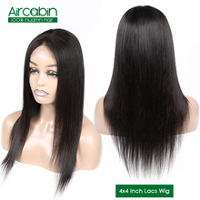 Aircabin Brazilian Wig 4x4 Straight Lace Closure Wigs For Black Women Human Hair Wigs With Baby Hair Jazz Star Non Remy Lace Wig(China)