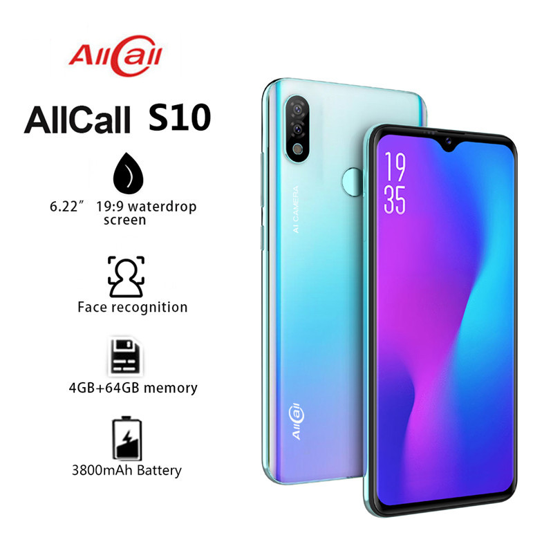 "Original New Allcall S10 Mobile Phone 6.22"" Waterdrop Screen 4GB+64GB Octa core Helio P23 16MP Dual-camera 4G LTE Smartphone"