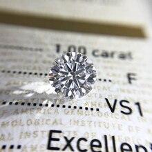 Redondo corte brilhante 1.0ct quilates 6.5mm e f cor moissanites solto pedra diamante anel jóias pulseira material de alta qualidade