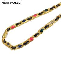 2020 Fashion Jewelry New Fashion Short Necklace W/ Colored Stone And Gold Necklace One Piece Simple New Design
