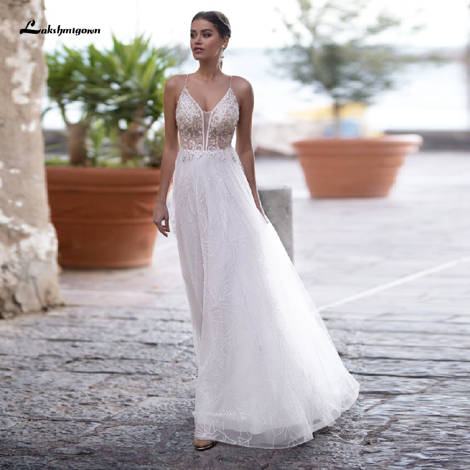 Lakshmigown Sexy Bridal Wedding Dress Beach 2020 Abito Da Sposa Sheer White Tulle Mariage Beaded V Neck Boho Wedding Dresses