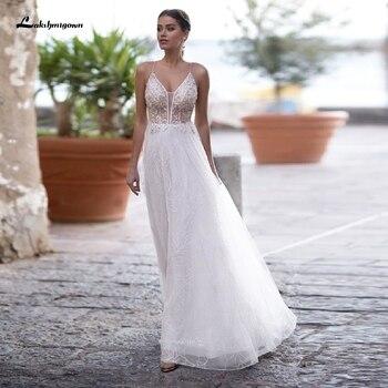Lakshmigown-vestido de novia blanco puro, con cuentas, escote en V, vestidos de...