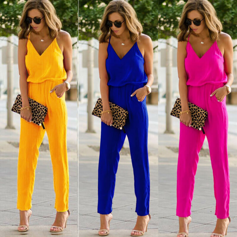 Women Sexy Spaghetti Summer Sleeveless Jumpsuit Strap Wide Legs V-Neck Female Bodycon Jumpsuit Bodysuit Long Pant Trouser