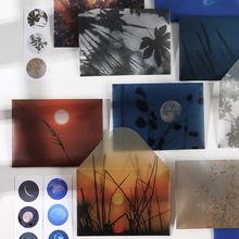 3 pcs/set Island dusk letter series Translucent Envelope Message Card Letter Stationary Storage Paper Gift