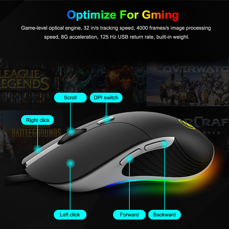 JF12 5500 DPI Colorful LED Optical USB Wired Gaming PRO Mouse Mice for PC Laptop