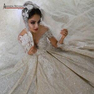 Image 1 - Mariage robe de mariee 2020 mangas compridas pesadas miçangas vestido de noiva de luxo