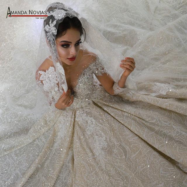 Mariage robe de mariee 2020 mangas compridas pesadas miçangas vestido de noiva de luxo