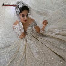 Vestido de novia de lujo con pedrería recargada, manga larga, 2020