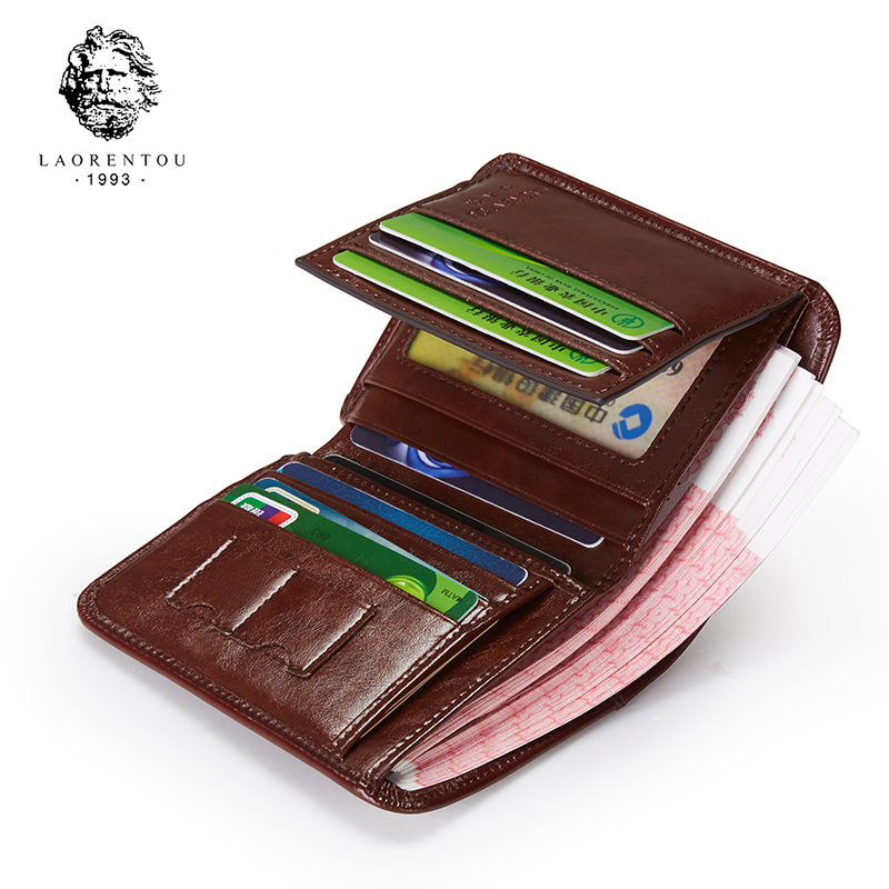 LAORENTOU Man Genuine Leather Wallet Vintage Men's Short Cow Leather Wallets Casual Male Purse Standard Card Holder For Men