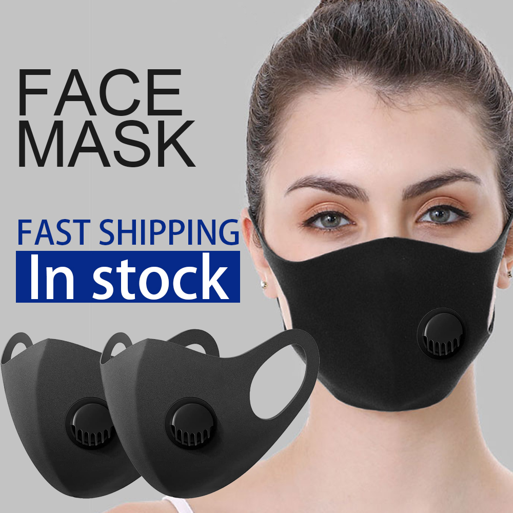 100pcs In Stock 3D Black Face Mask With Breath Valve Respirator Haze PM2.5 Soft Mouth Mask Reusable Mouth Mask Fast Shipping