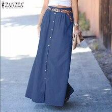 Jupe Skirts Maxi Pockets ZANZEA Women Denim Summer Buttons Oversized Fashion Solid Casual