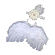Newborn Photography Props Costume Fashion Baby Kids Headband Feather Angel Wing XX9F