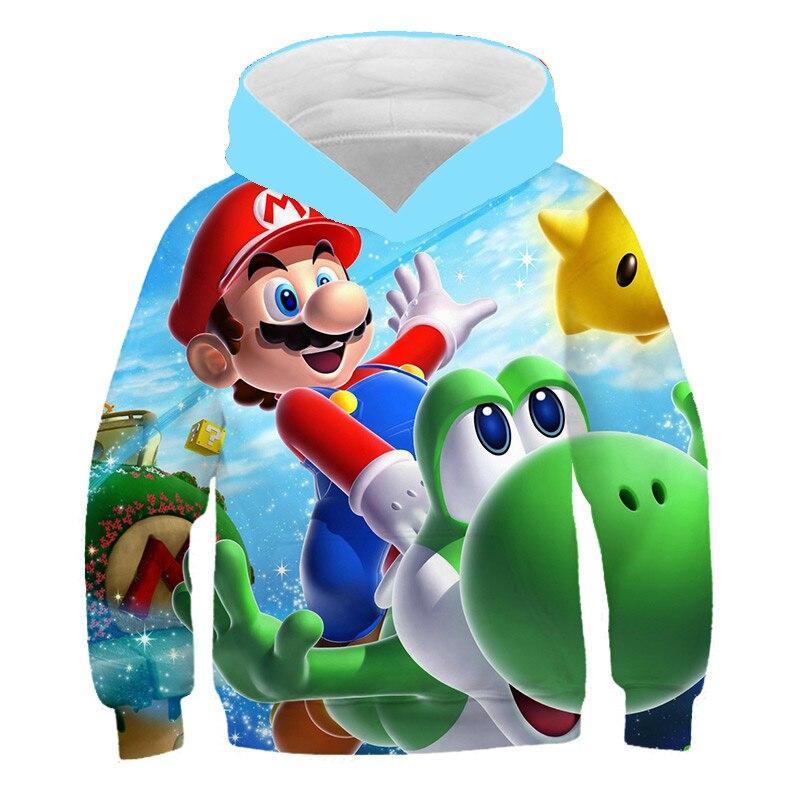 criancas super mario bros 3d hoodie moda casual meninos meninas camisolas topos crianca pulover roupas esportivas