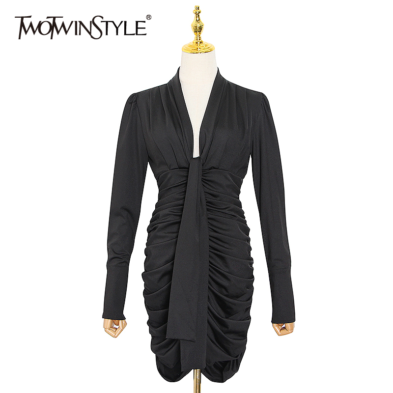 TWOTWINSTYLE Patchwork Ruched Women Dress V Neck Long Sleeve High Waist Black Mini Dresses Female Fashion Clothes 2020 New Tide