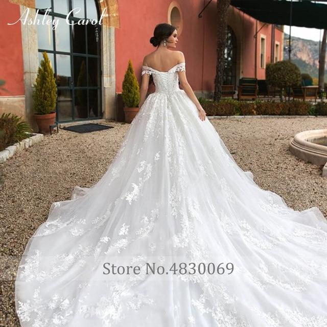 Ashley Carol Ball Gown Wedding Dress 2021 Beaded Sweetheart Cap Sleeve Princess Appliques Lace Up Bride Robe De Mariage Royale 5