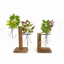 Террариум вазеваза украшение дома бонсай цветок вазы для растений винтажный цветочный горшок прозрачный деревянный каркас Стекло Настольные растения