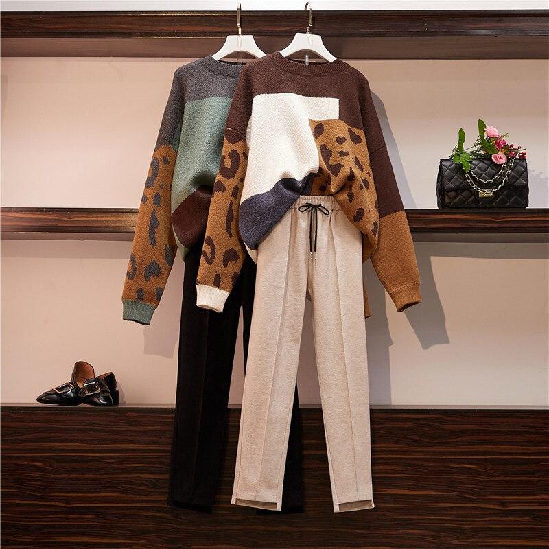 HAMALIEL Oversize Lose Pullover 2 Stück Set Herbst Winter Leopard Drucken Patchwork Gestrickte Faule Pullover + Bleistift Woolen Hosen Set