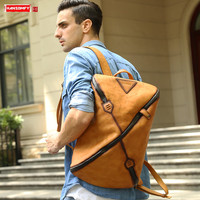New vintage leather men's backpack men laptop bag fashion male large capacity travel backpacks casual computer bag school bags