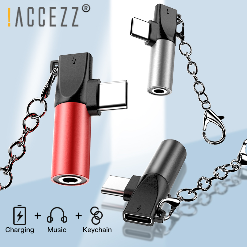 !ACCEZZ Adapter USB Type C For Huawei P20 P30 3.5mm Earphone Jack Aux Adapter Charging Listening 2 In 1 For Xiaomi 9 8 Keychain