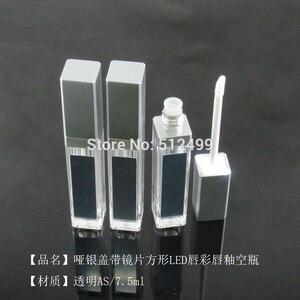 Image 4 - 10/30/50pcs 7.5ml ריק איפור השפתיים DIY בקבוק שחור/כסף כיכר גלוס צינור עם LED אור מראה glair שפתני בקבוק