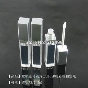 Image 4 - 10/30/50pcs 7.5ml Empty Makeup DIY Lip gloss bottle Black/silver Square Lip Gloss Tube with LED Light mirror Labial glair bottle