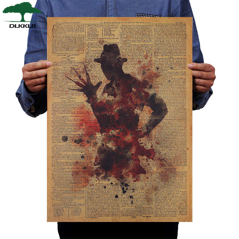 DLKKLB Classic Horror Movie Poster Freddy Krueger Vintage Kraft Paper 50.5x36cm Wall Sticker Home Bar Cafe Decoration Painting