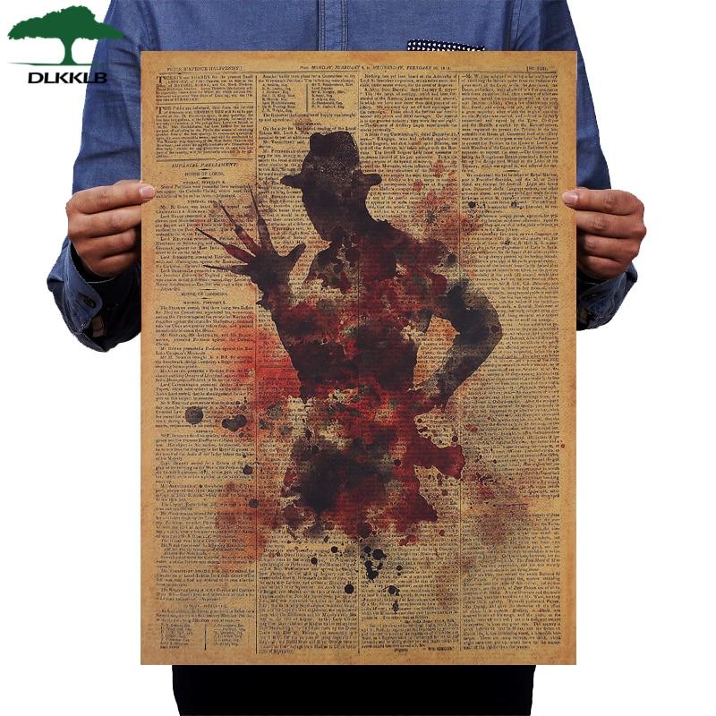 DLKKLB Classic Horror Movie Poster Freddy Krueger Vintage Kraft Paper 50.5x36cm Wall Sticker Home Bar Cafe Decoration Painting
