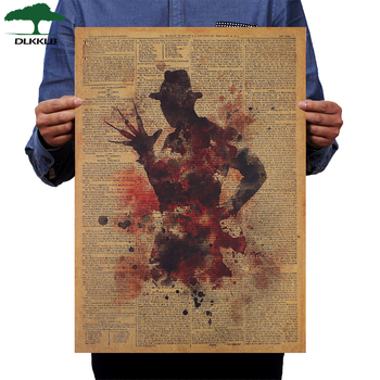 DLKKLB Classic Horror Movie Poster Freddy Krueger Vintage Kraft Paper 50.5x36cm Wall Sticker Home Bar Cafe Decoration Painting image
