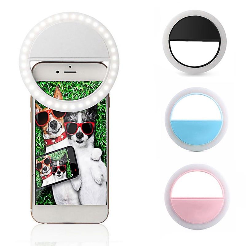 Universal Selfie LED Flash Ring Light Portable Selfie Lamp Mobile Phone Lens For IPhone XS Max Xiaomi Samsung Luminous Ring Clip