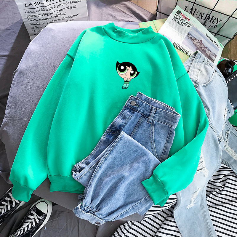 Kawaii Buttercup Blossom And Bubbles Sweatshirt Harajuku Hip-hop Ulzzang Korean Style Girls Autumn Fashion Sweatshirt