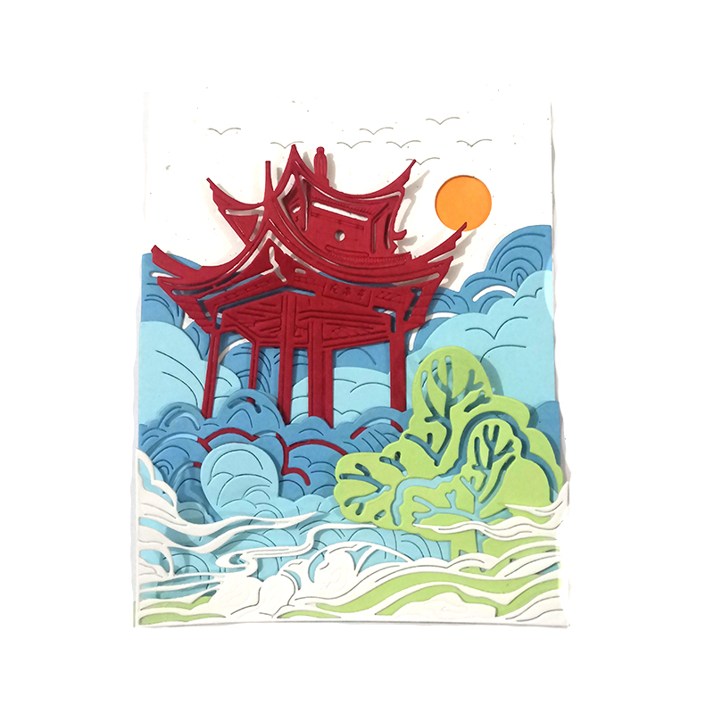 Spancolor Self Design Chinese Temple Die Cut Set River Wave And Sun Embossing Stencil Scrapbooking Card Making