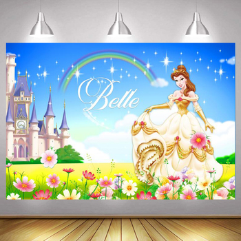 Belle Princess Photo Backdrop Girls Rainbow Castle Kids Happy Birthday Party Decoration Photography Backgrounds Banner