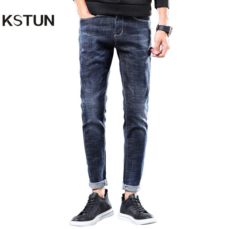 KSTUN Mens Jeans Brand Stretch 2020 Slim Fit Solid Blue Casual Denim Pants Full Length Male Trousers Jeans Cowboys  Jean Hombre