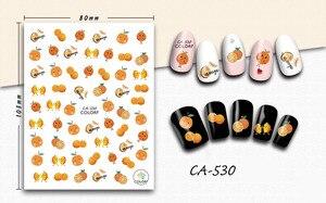 3D стикер для ногтей девушки маникюр декоративные переводные наклейки для ногтей мультфильмы оранжевый фруктовый дизайн наклейки для ногте...
