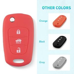 Image 2 - KEYYOU Silicone 3 Button Flip Remote Key Fob Case Cover For for Kia K2 K5 Pro Ceed HYUNDAI i20 i30 i40 SANTA Car Key Cover